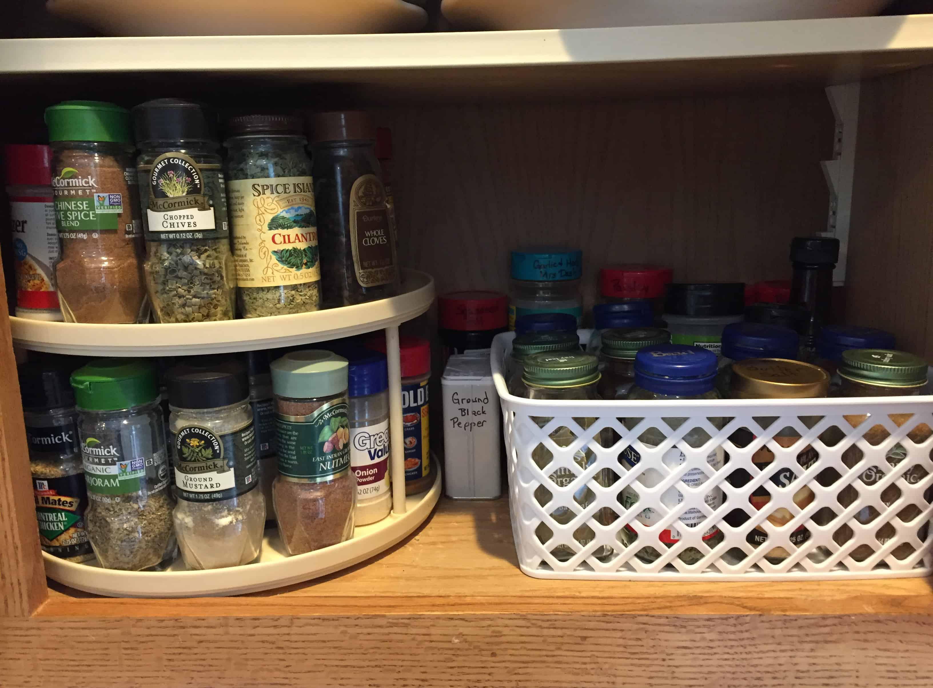 organized shelf of spices