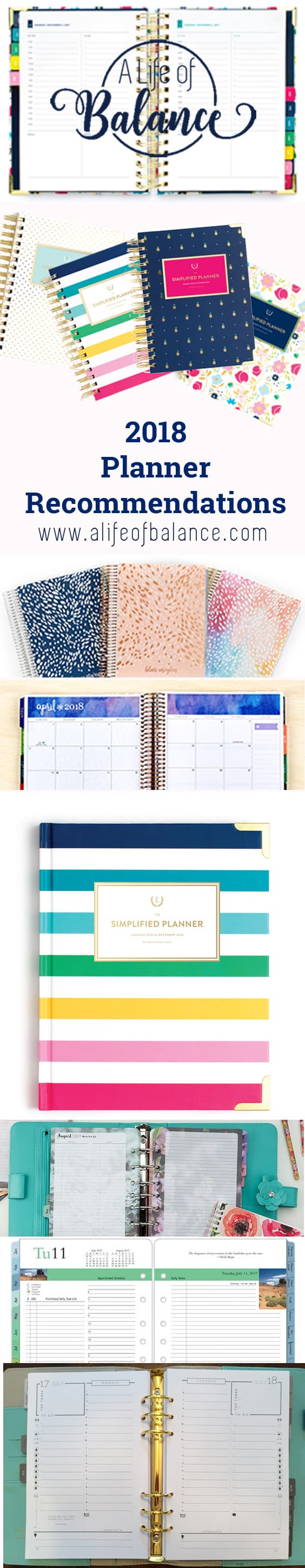 long pin image of several planner with article title - 2018 Planner Recommendations www.alifeofbalance.com