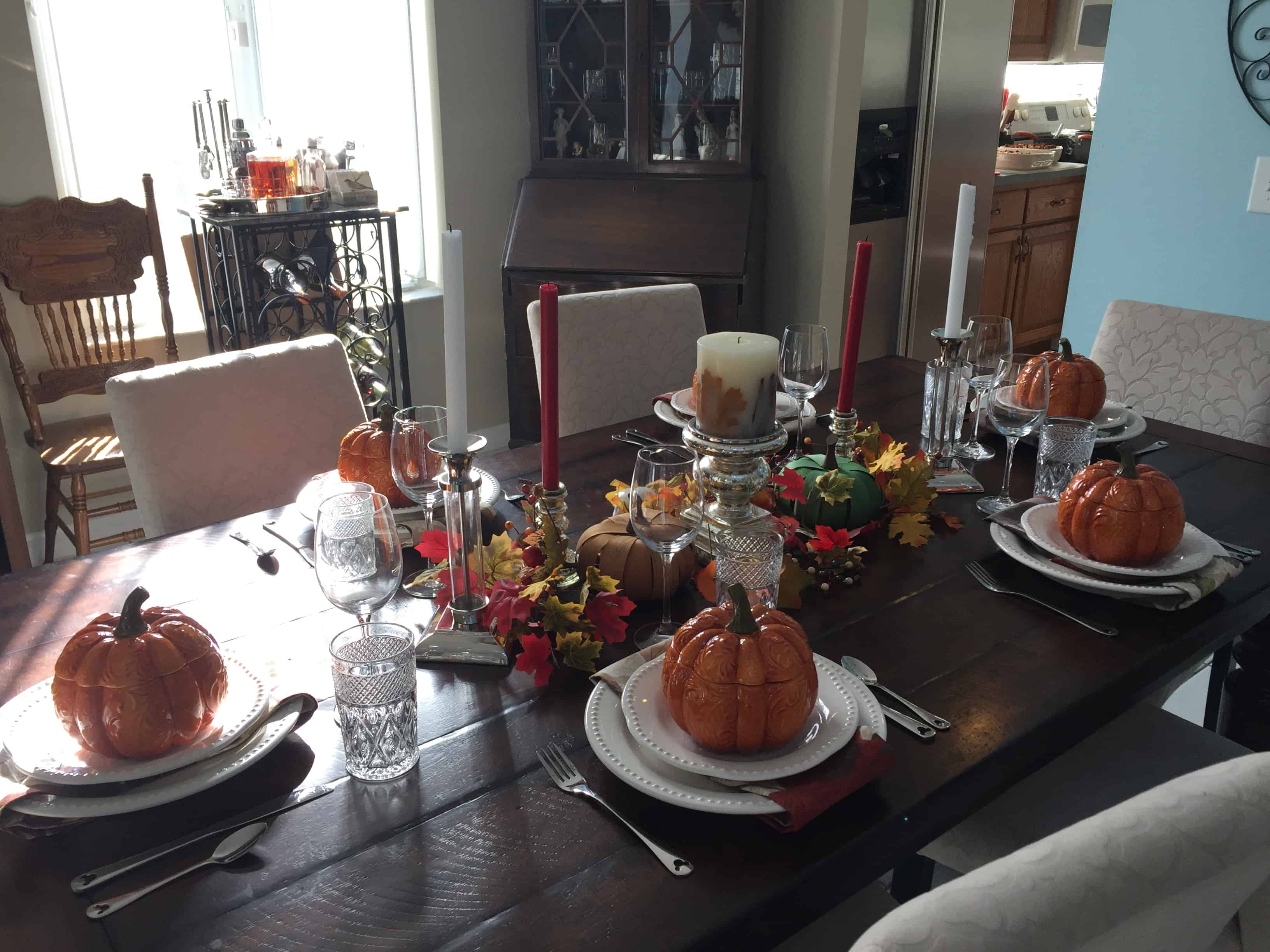 Fall Family Dinner. Simplified Fall decorating that you can do even if your short on time and energy. From deciding where to decorate to how to curate a decorations collection without spending a fortune each year, I cover the entire process. I've even given you web resources to purchase similar products so you can do an exact copy if that's what you want. Read on to see how to maximize your results while minimizing your time, energy and money. #falldecorating #simplified #chronicillness