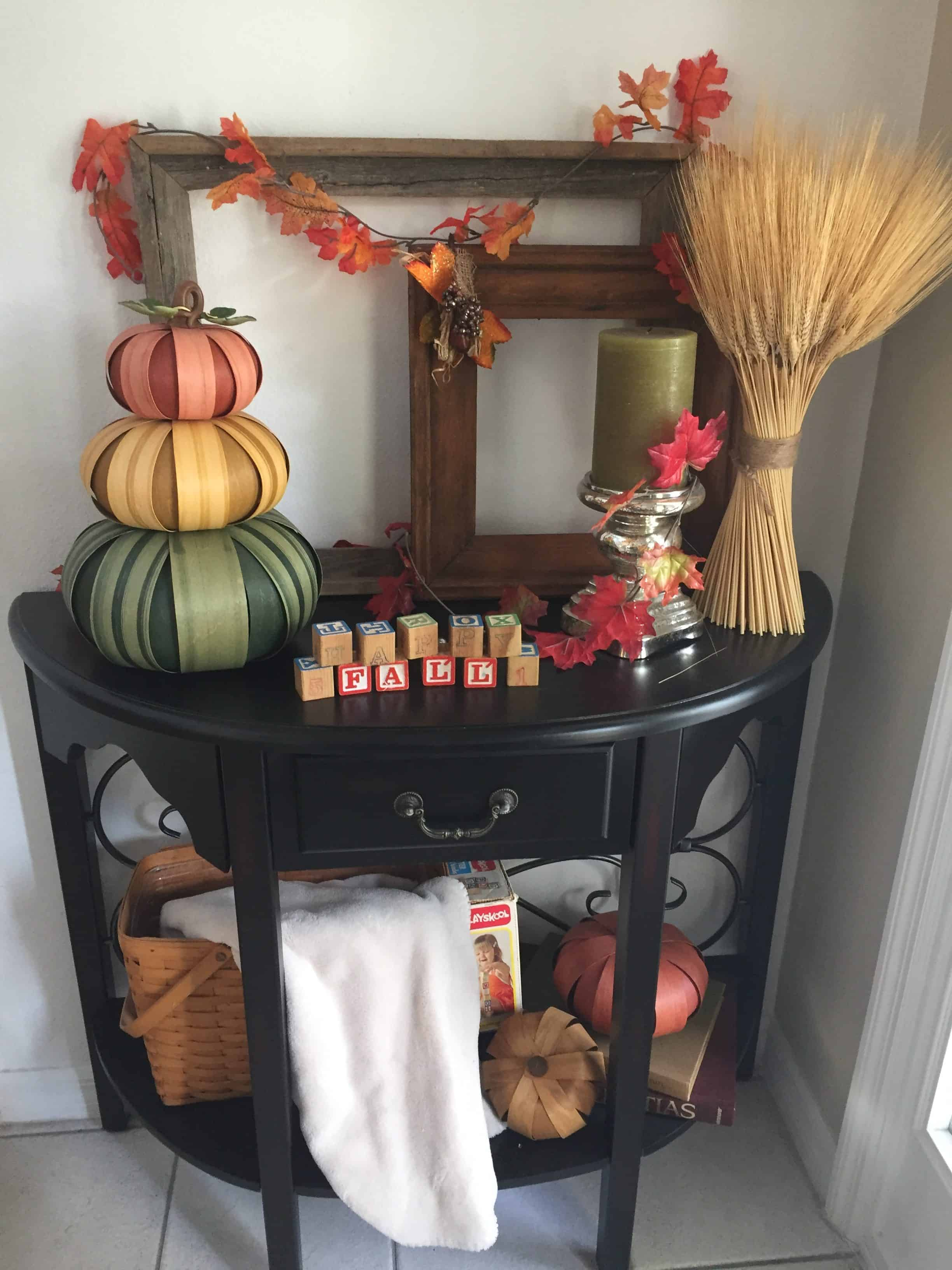 Fall Entry Table. Simplified Fall decorating that you can do even if your short on time and energy. From deciding where to decorate to how to curate a decorations collection without spending a fortune each year, I cover the entire process. I've even given you web resources to purchase similar products so you can do an exact copy if that's what you want. Read on to see how to maximize your results while minimizing your time, energy and money. #falldecorating #simplified #chronicillness