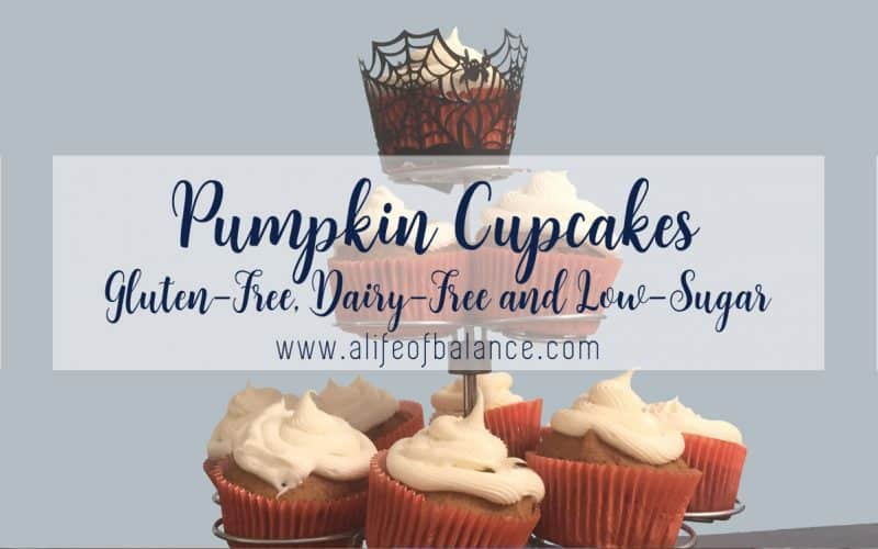 Pumpkin cupcakes on display stand with article title - Pumpkin Cupcakes, gluten-free, dairy-free, and low sugar