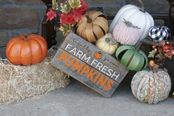 A crate of artificial pumpkins.