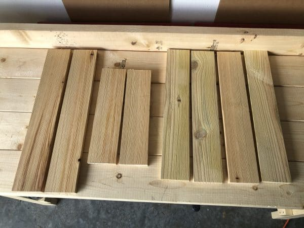Collection of wood pieces for grill tools organizer