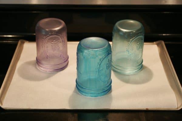 Baking tinted mason jars - https://alifeofbalance.com/tinted-mason-jars/