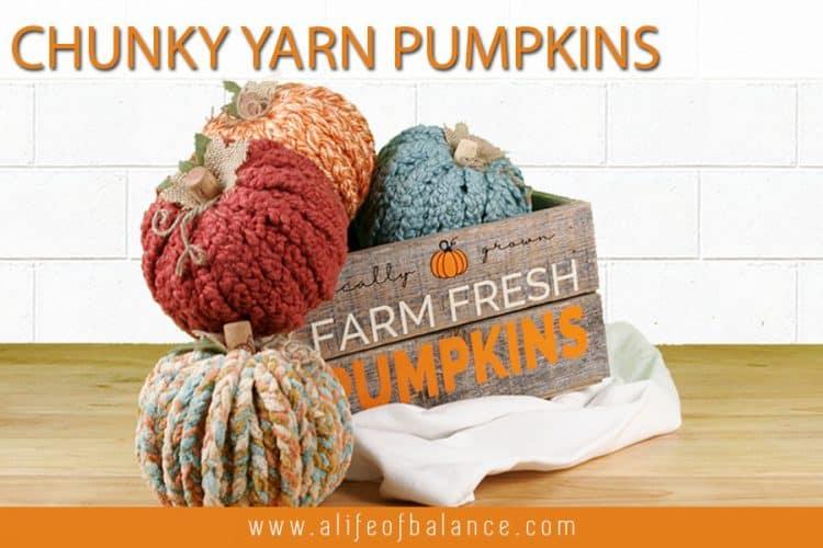 Chunky Yarn Pumpkins from Dollar Tree Pumpkins